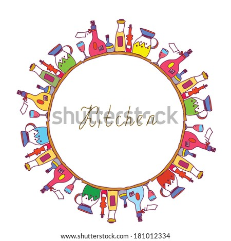 Kitchen frame with pots, bottles,, cooking instruments - stock vector