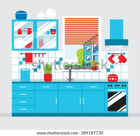 Kitchen. Furniture and crockery . Flat style vector illustration.