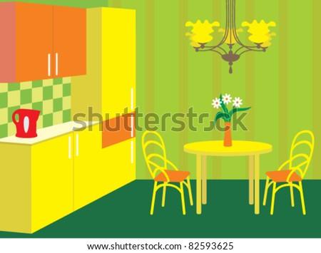 Kitchen furniture. Interior. vector, no gradient, color full - stock vector