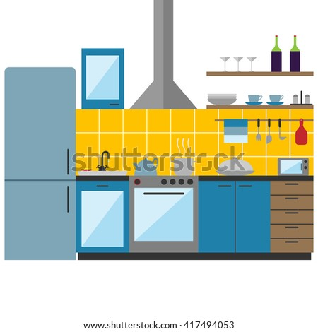 Kitchen furniture on a white background.