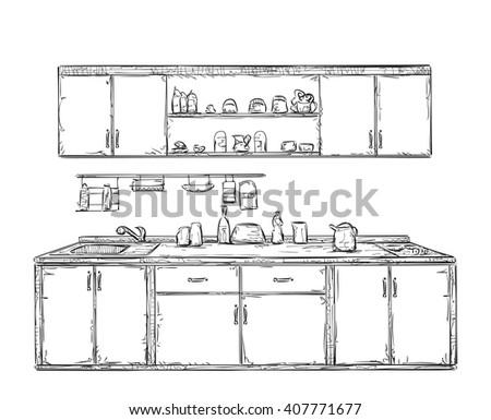 Kitchen Furniture Sketch Hand Drawn Cupboard Interior