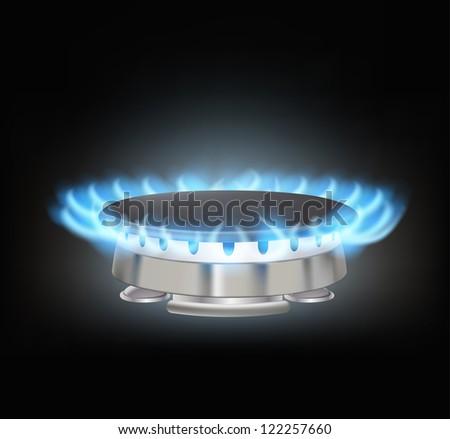 kitchen gas burner on black - stock vector