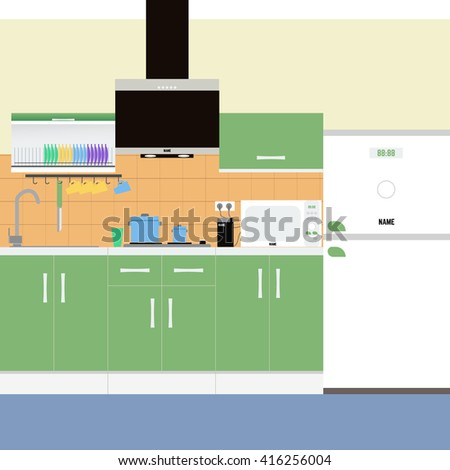 kitchen green. The kitchen is in shades of green. Vector illustrations kitchen. Kitchen furniture and kitchen appliances. Modern kitchen design in pastel colors.kitchen set, cooker hood, - stock vector