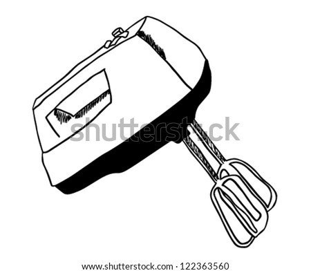 Kitchen hand mixer drawing vector illustration - stock vector