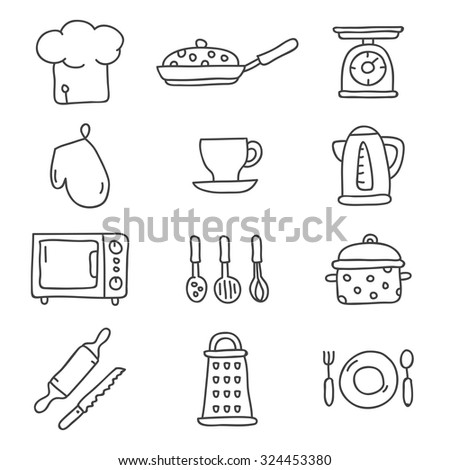 Kitchen icons, hand-drawn. Vector.  - stock vector