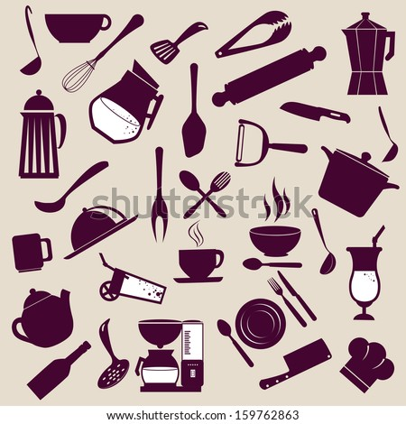 kitchen icons over purple background vector illustration