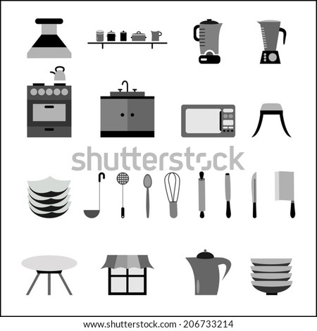 Kitchen icons set, baking and cooking tools black and white - stock vector