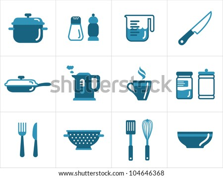 Kitchen icons set, easy to edit, re-size and colorize - stock vector