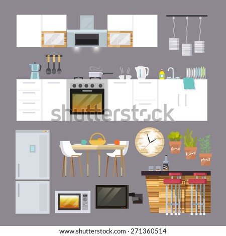 Kitchen interior and furniture decorative icons flat set isolated vector illustration - stock vector