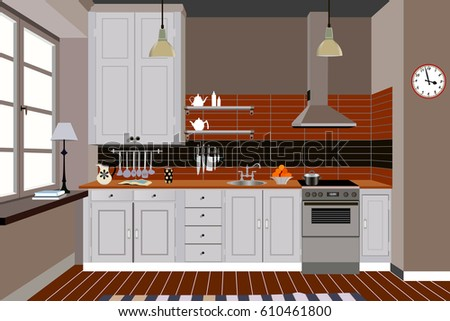 Modern Kitchen Background new modern kitchen interior stock photo 579690727 - shutterstock