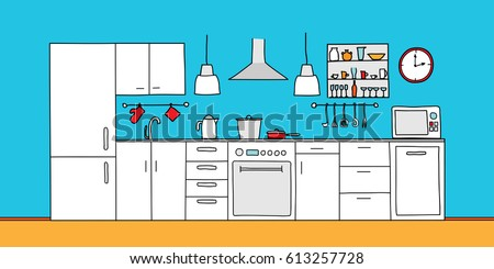 Kitchen Interior Color Sketches Hand Drawing Front View Contour Vector Illustration Kitchen Furniture And Equipment