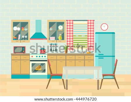 Kitchen interior cozy home food cooking and dining room poster vector flat illustration - stock vector