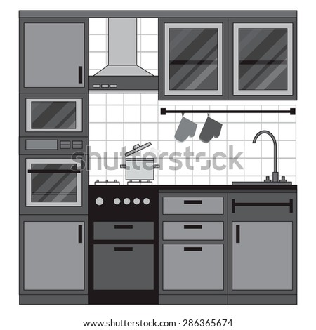 Kitchen interior design. Home furniture. Set of elements: stove, oven, microwave, cupboards, dishes, tap. Vector illustration