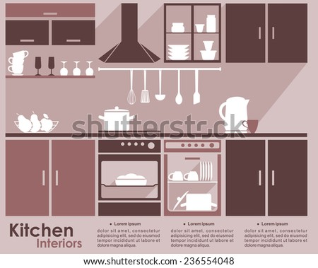Kitchen interior design infographic template in shades of brown and beige showing a fitted kitchen with built in electrical appliances, cabinets and kitchenware on the shelves, space for text - stock vector