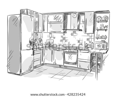 Kitchen interior drawing, vector illustration - stock vector