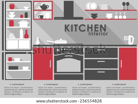 Kitchen Interior flat design in gray and red with long shadows with space for infographic text showing a fitted kitchen with appliances, kitchenware on shelves and cabinets - stock vector