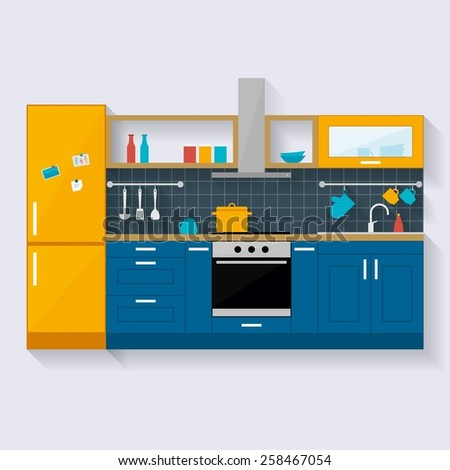 Kitchen interior. Kitchen furniture and utensils. Flat style vector illustration with long shadow.