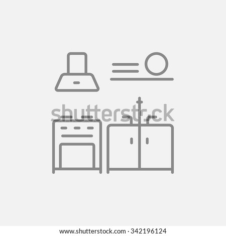 Kitchen interior line icon for web, mobile and infographics. Vector dark grey icon isolated on light grey background. - stock vector