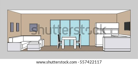 Kitchen Interior Living Room And Dining Space Vector Illustration