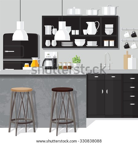 Kitchen interior modern home food cooking and dining room realistic poster vector illustration - stock vector