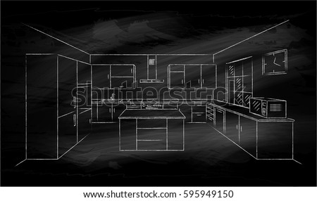 Kitchen Interior Sketches Hand Drawing On Black Chalkboard Contour Vector Illustration Kitchen Furniture And Equipment