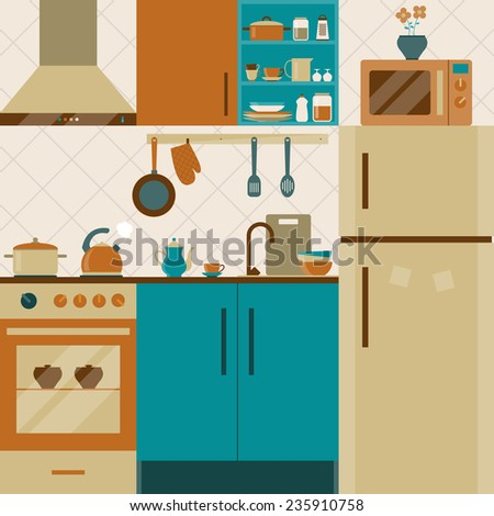 kitchen interior with furniture and cooking utensils. flat style vector illustration - stock vector