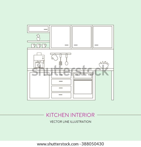Kitchen interior with furniture. Template with line vector illustration - stock vector