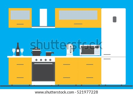 Kitchen interior with furniture, utensils,  and devices. Including fridge, oven, microwave, kettle, . Flat style vector illustration