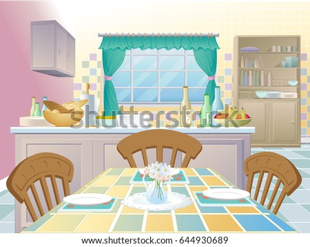 Kitchen interior with island and table for dinner.