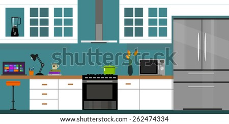 kitchen interior with wood interior in vector illustration flat blue
