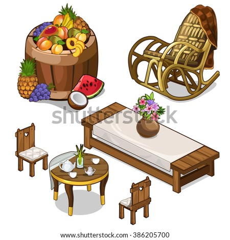 Kitchen interior with wooden furnishings in retro style. Wooden barrel with tropical fruits. Vector illustration. - stock vector