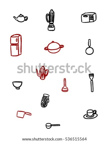 Kitchen items (Doodle vector art)