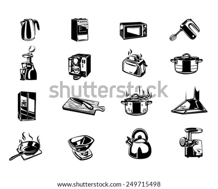 Kitchen items vector icons black set - stock vector