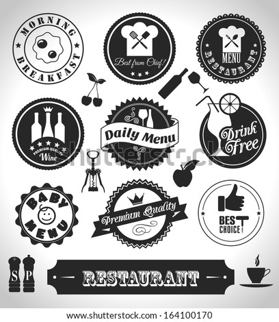 Kitchen label set - stock vector