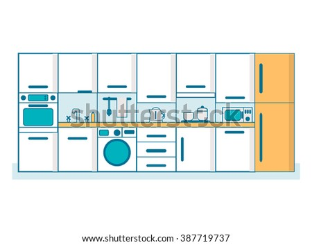 Kitchen linear flat. Interior furniture, table cook, household and oven, utensil and stove, line vector illustration
