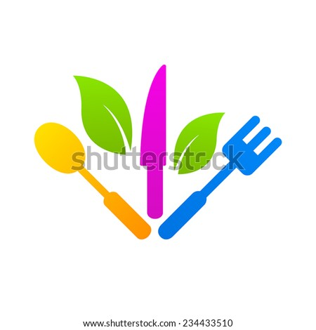 Kitchen logo sign icon healthy food - stock vector