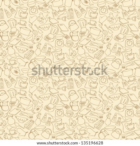 stock vector kitchen objects seamless background 135196628 - Каталог — Фотообои «Еда, фрукты, для кухни»