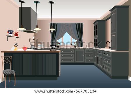 Kitchen Old Design Iconinterior Room Symbol Furniture Illustration