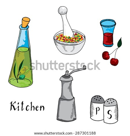 Kitchen: Olive oil, spices, salt and pepper illustration on simple white background  - stock vector