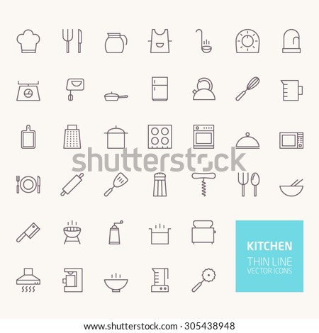 Kitchen Outline Icons for web and mobile apps - stock vector