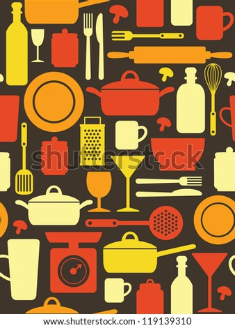 kitchen pattern design. vector illustration - stock vector