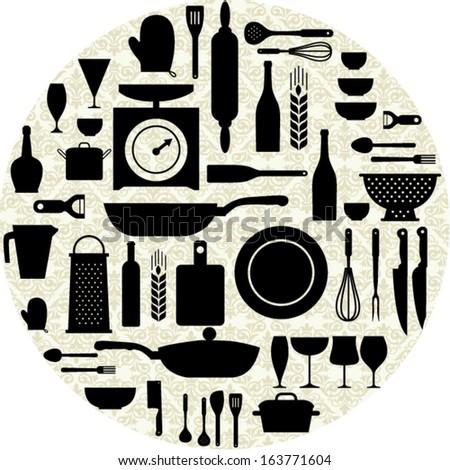 kitchen pattern. vector illustration  - stock vector