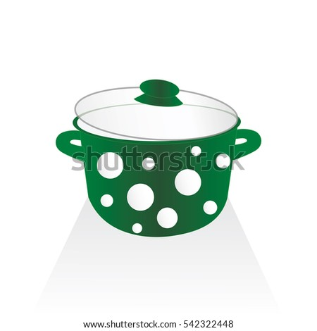 kitchen pot in green color with white dots isolated on white background