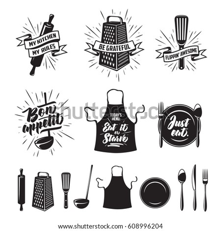 Restaurant Kitchenware kitchen prints set quotes funny sayings stock vector 617992010