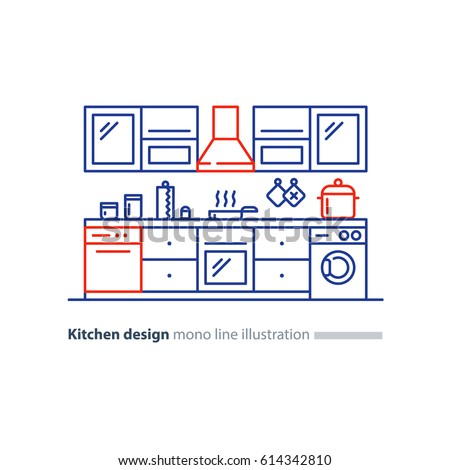 Kitchen project design blueprint combination idea stock vector kitchen project design blueprint combination idea home furniture arrangement plan vector malvernweather Gallery