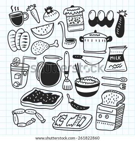 kitchen related object doodle  - stock vector