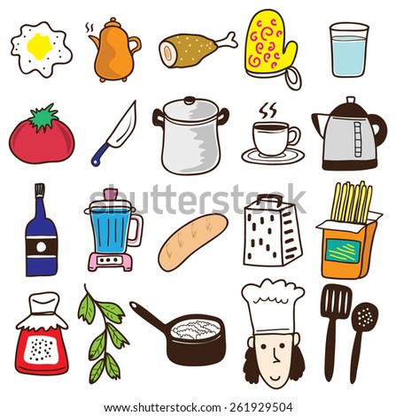 kitchen related object icon in doodle style - stock vector