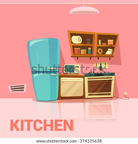 Kitchen retro design with fridge microwave oven and cooker cartoon vector illustration  - stock vector