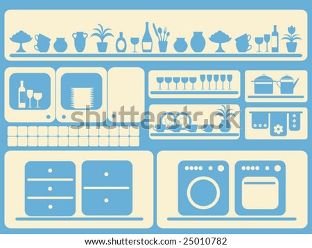 Kitchen room and home objects set. Vector illustration. - stock vector