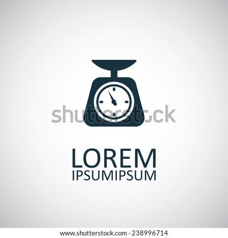 kitchen scales icon on white background  - stock vector